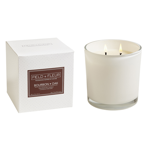 Bourbon Oak  2 wick candle in white glass 12oz.