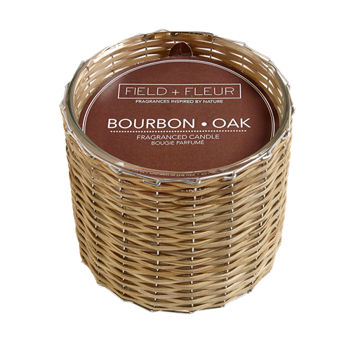 Bourbon Oak Handwoven Candle 2 Wick 12oz.