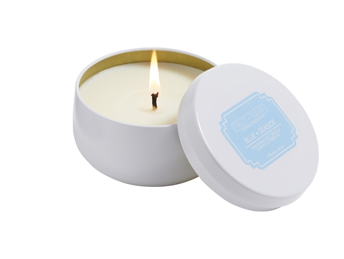 Blue Seaside candle in white tin 6oz.