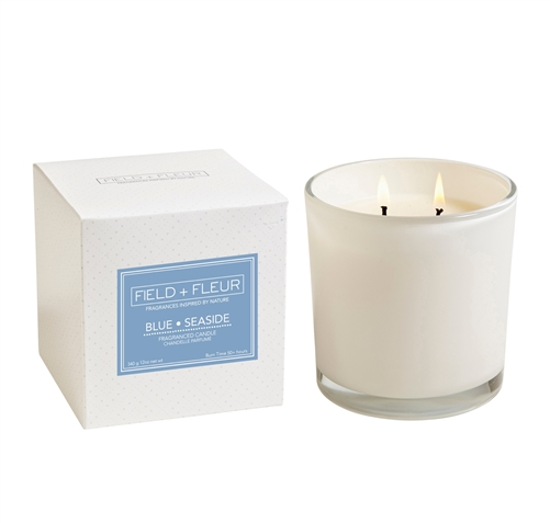 Blue Seaside 2 wick candle in white glass 12oz.