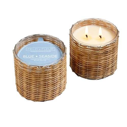 Blue Seaside 2 wick handwoven candle 12oz.