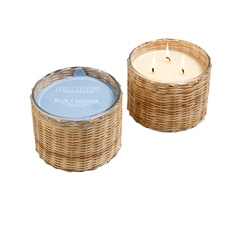 Blue Seaside 3 wick handwoven candle 21oz.