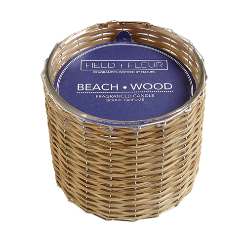 Beach Wood  2 wick handwoven candle  12oz.