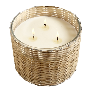 Beach Wood 3 wick handwoven candle 21oz.