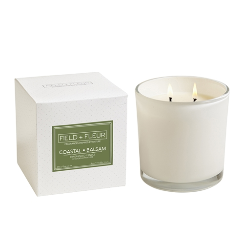 Coastal Balsam 2 Wick Candle in White Glass 12oz.