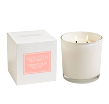 Coconut Rose  2 wick candle in white glass 12oz.