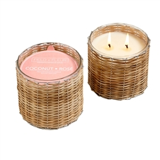 Coconut Rose  2 wick handwoven candle 12oz.
