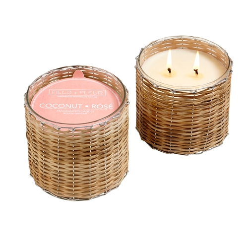 Coconut Rosé 2 wick handwoven candle 12oz.