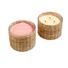 Coconut Rose 3 wick handwoven candle 21oz.