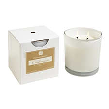 Cashmere  2 wick white candle w/box 12oz.