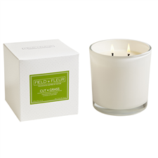 Cut Grass 2 wick candle in white glass 12oz.
