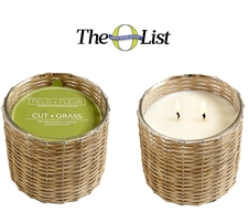 Cut Grass 2 wick handwoven candle  12oz.