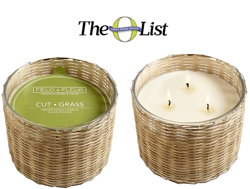 Cut Grass 3 wick handwoven candle  21oz.