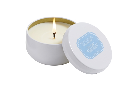 Sea Salt candle in white tin 6oz.