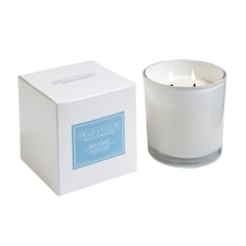 Sea Salt 2 wick candle in white glass 12oz.