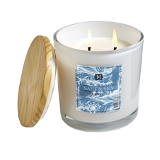 Salt & Sea 12oz white glass candle