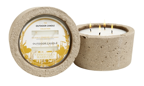 Marigold OUTDOOR candle in hypertufa pot 32oz.