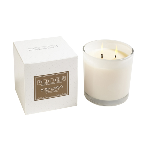 Myrrh Wood White Candle 2 Wick 12oz.