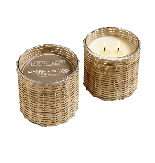 Myrrh Wood 2 wick handwoven candle  12oz.