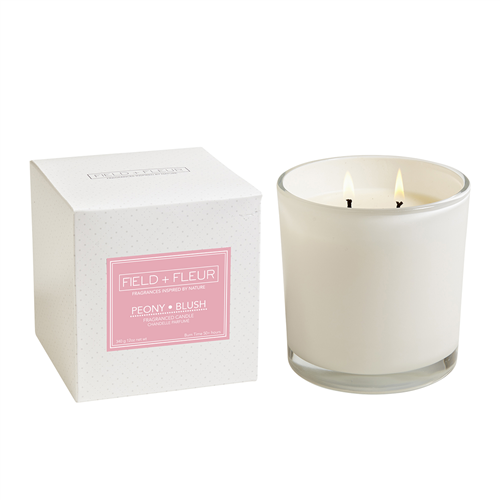 Peony Blush 2 Wick Candle In White Glass 12oz.