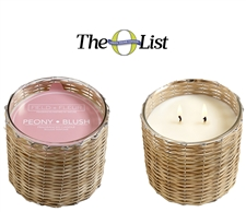 Peony Blush 2 wick handwoven candle  12oz.