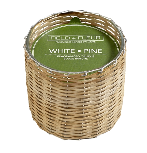 White Pine 2 wick handwoven candle 12oz.