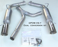 GPDW-V6-Y 2005-10 Dodge/Chrysler 2.7L & 3.5L resonated dual conversion kit w/DW tips