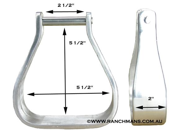 "Ranchman's 2"" Tread Aluminium Stirrups-2-1/2"" Top"