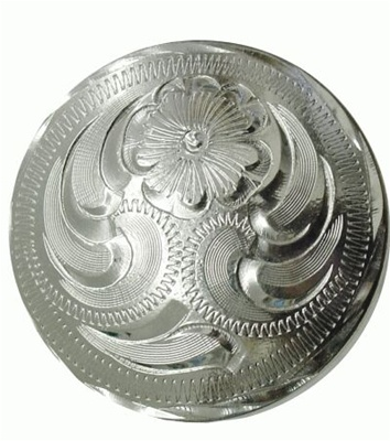 Engraved Silver Saddle Concho