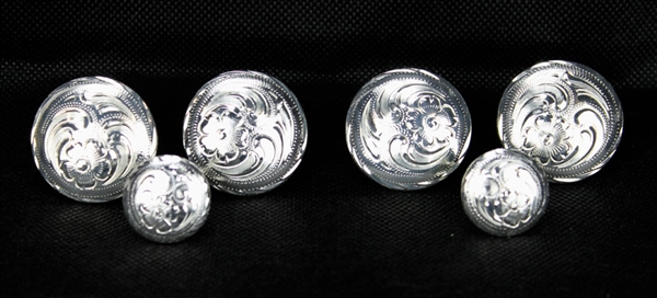 Sterling Silver Plated Saddle Concho Set