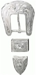 "5/8"" Engraved Silver Plate Buckle Set, Buckle, Loop & Tip."