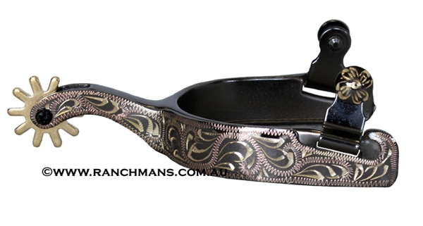 Midnight Blued Steel Western Spurs w/Heel Lip & Gold Trim