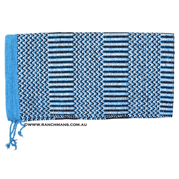 "Double Weave Navajo Saddle Blanket 32""x64""-Turquoise"