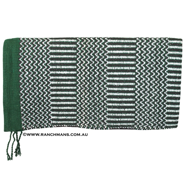 "Double Weave Navajo Saddle Blanket 32""x64""-Green"