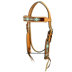 Showman® Turquoise Beaded Browband Headstall