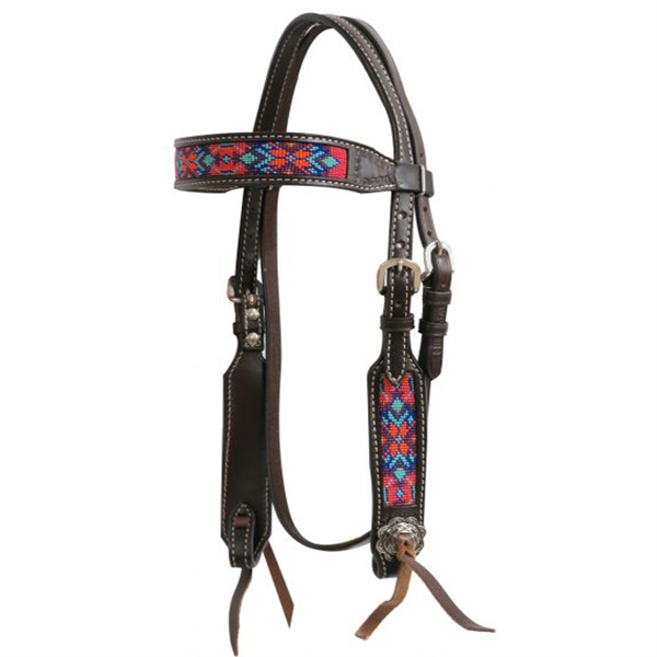 Showman® Dark Chocolate Headstall with Beaded Inlay