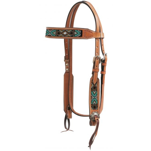 Showman® Teal Beaded Browband Headstall
