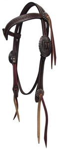 "Showman® Flower Tooled ""V"" Browband Headstall"