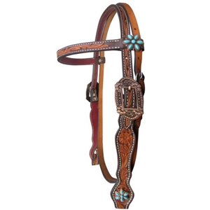 Showman® Floral Tooled Browband Headstall