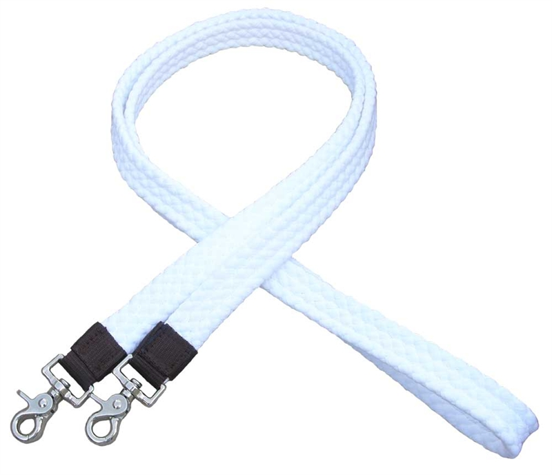 "1"" Flat Braided 100% Cotton Roping Reins -White"