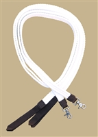 "Ranchman's 1"" Flat Braided 100% Cotton Split Reins - White"