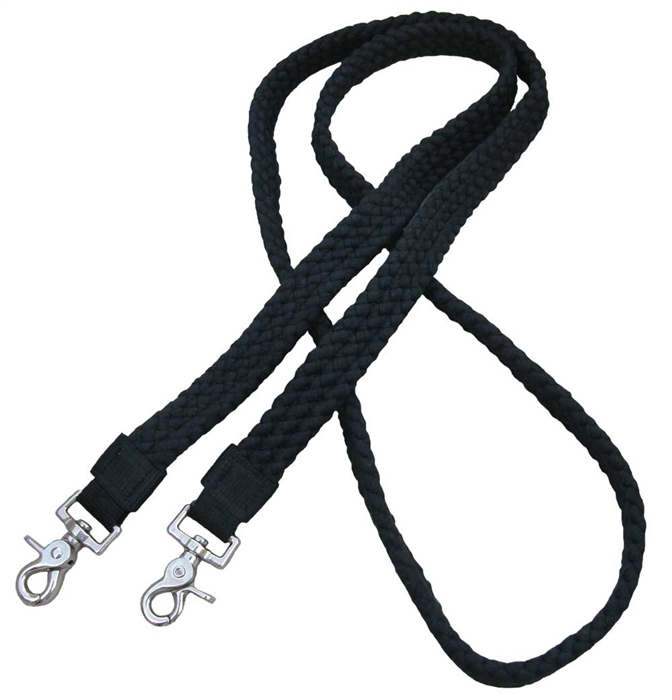 "1"" Flat Braided 100% Cotton Roping Reins - Black"
