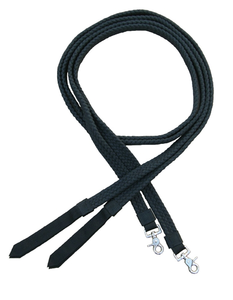 "Ranchman's 1"" Flat Braided 100% Cotton Split Reins - Black"