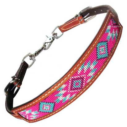 Showman® Pink Beaded Inlay Breast Collar Wither Strap
