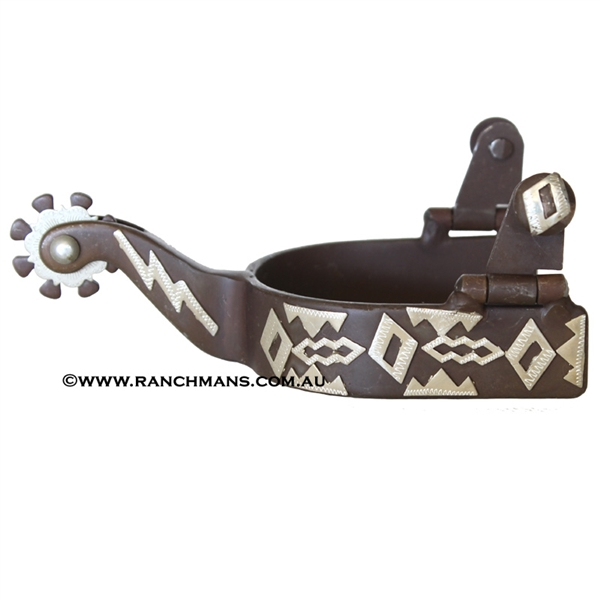 Ranchmans Engraved Diamond Pattern Spurs - Ladies