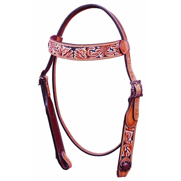 Bar H Equine® Painted Floral Tooled Browband Bridle