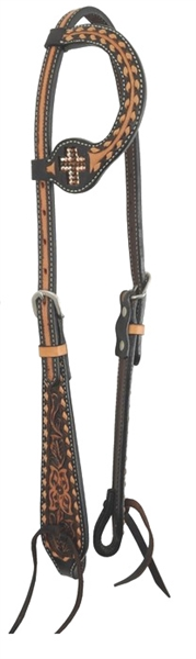 Bar H Equine® One Ear Topaz Crystal Cross Headstall