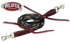 Weaver® Flat Braided Waxed Roping Reins-Black & Tan