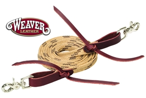 Weaver® Flat Braided Waxed Roping Reins-Tan & Brown