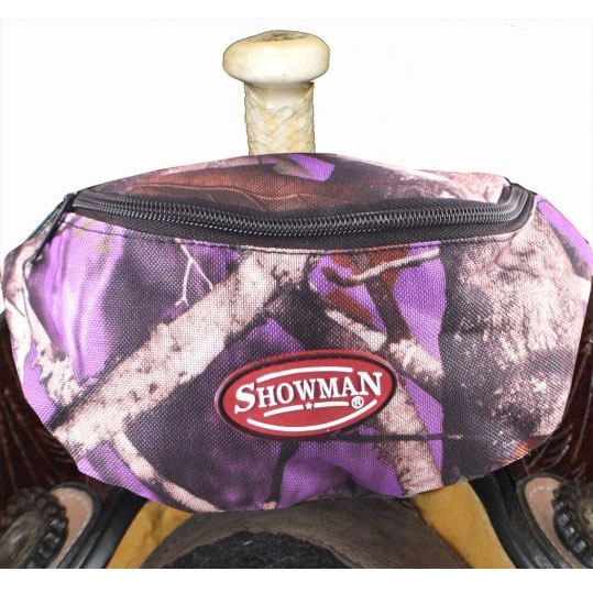 Showman® Nylon Insulated Saddle Pouch - Purple Camo